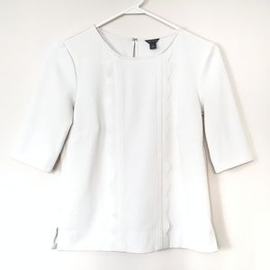 Ann Taylor Tops - Ann Taylor White 3/4 Sleeve Scalloped Top NWOT